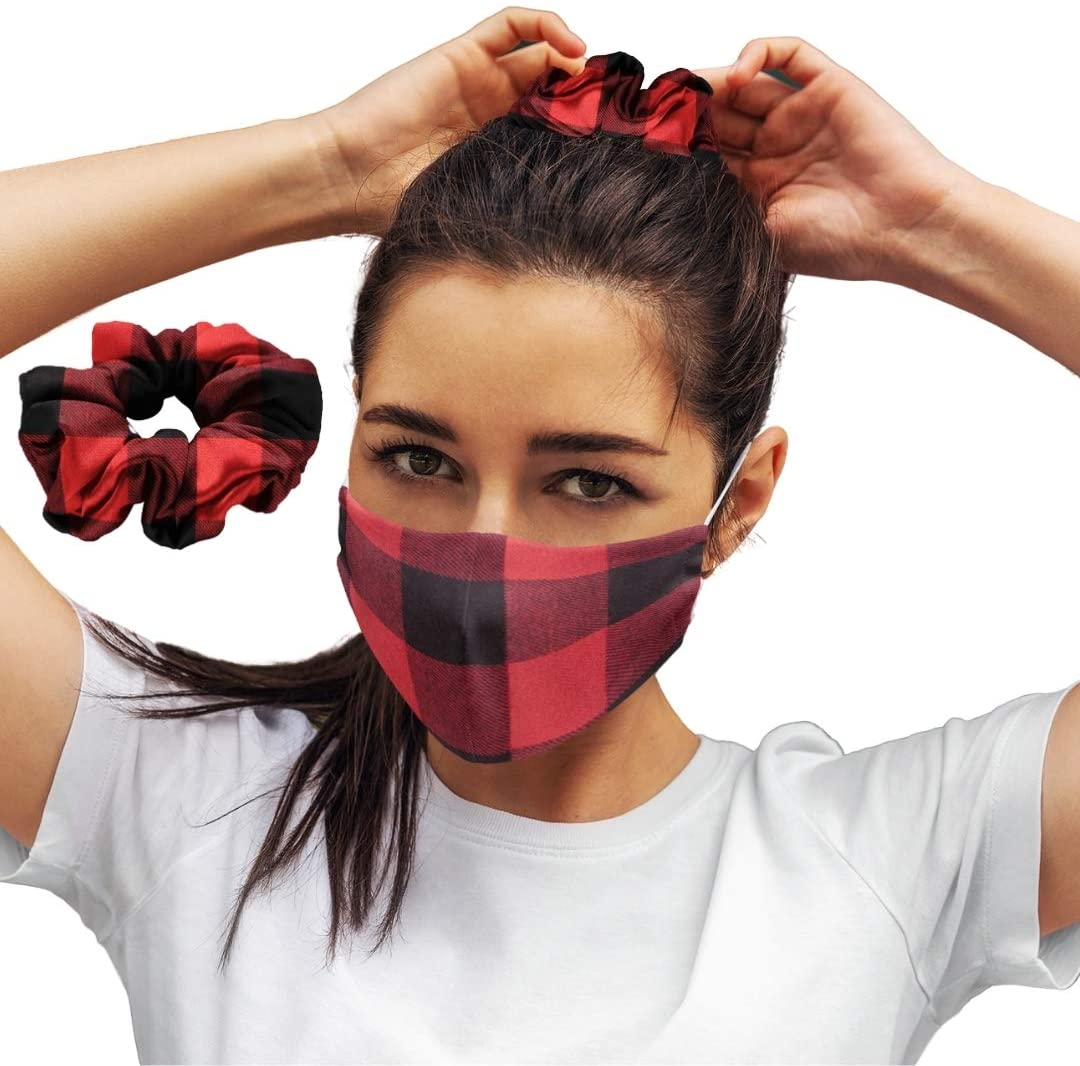 Red Plaid: Face Masks Reusable Set With Matching Hair Scrunchie Accessories