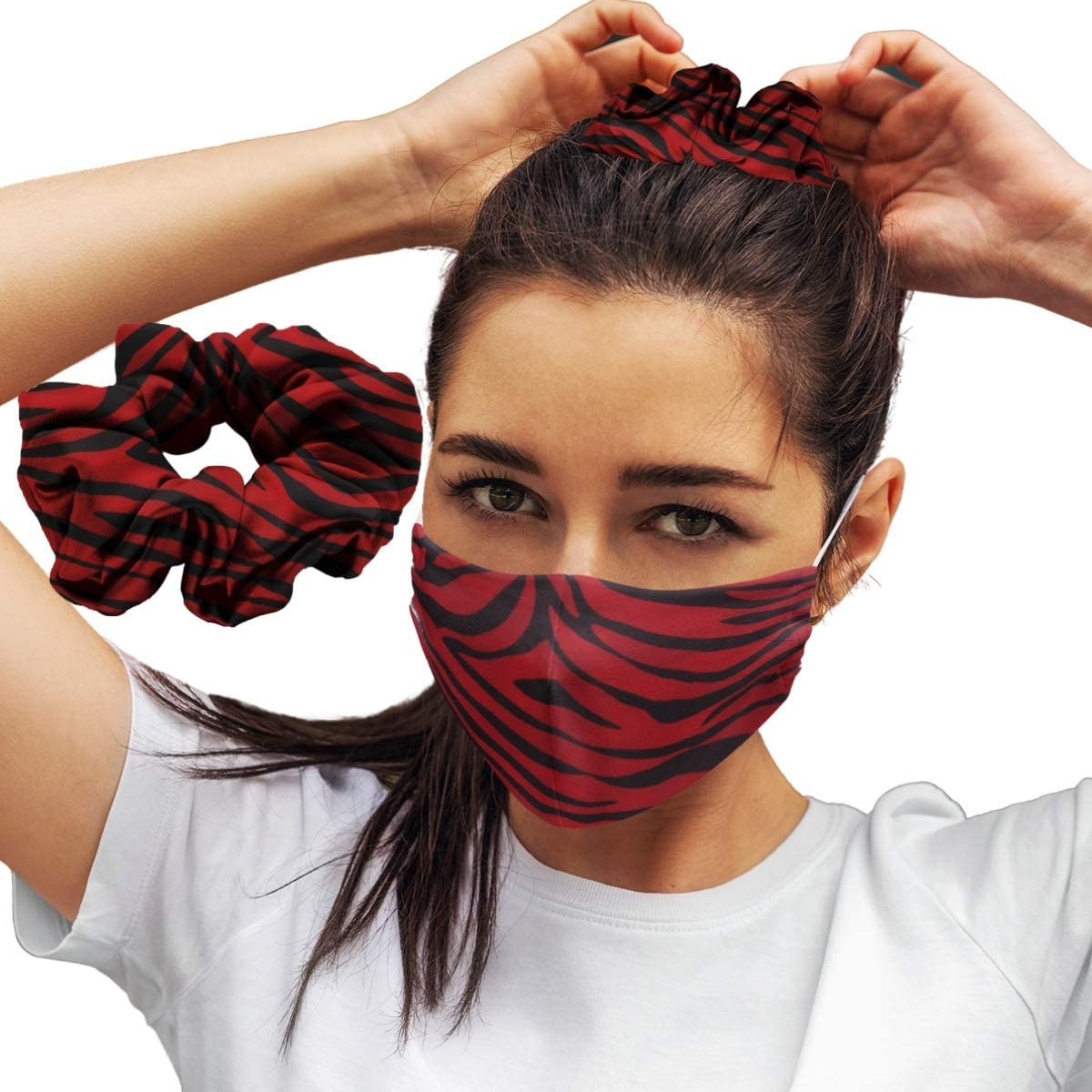 Red Zebra: Face Masks Reusable Set With Matching Hair Scrunchie Accessories