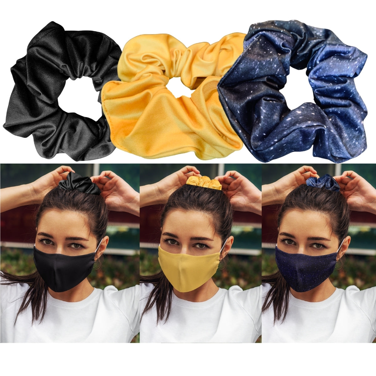Basic Collection Mask &Scrunchie 6 piece set