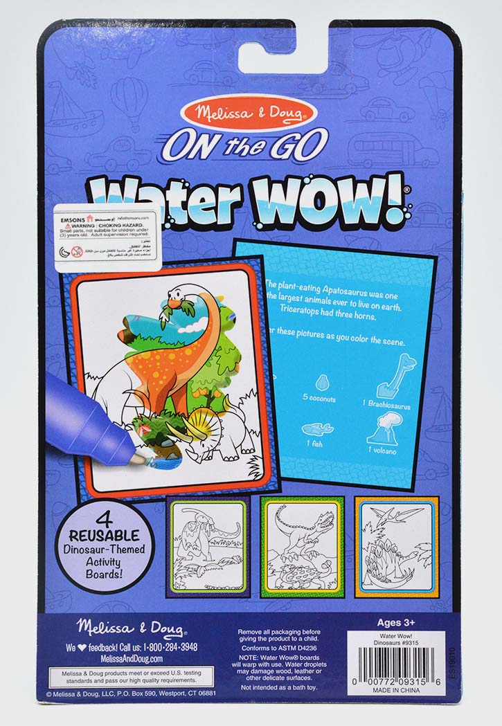 MELISSA & DOUG WATER WOW DINOSAURS WATER REVEAL PAD