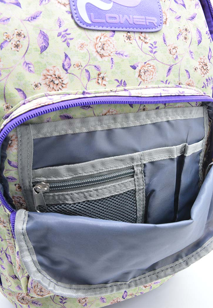 SBC DELUXE TROLLY BAG 18\ VIOLET WITH FLOWER DESIGN""