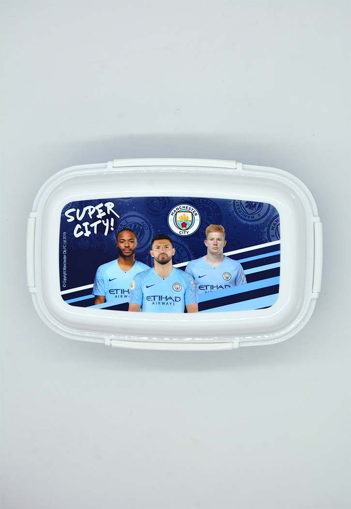 MANCHESTER CITY LUNCH BOX W/ 4 CLIP CLOSURES & 3 TRAYS S-4404 MCM