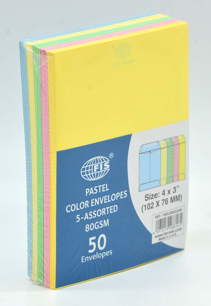 FIS - Pastel 5 Colors Envelopes 102x76MM