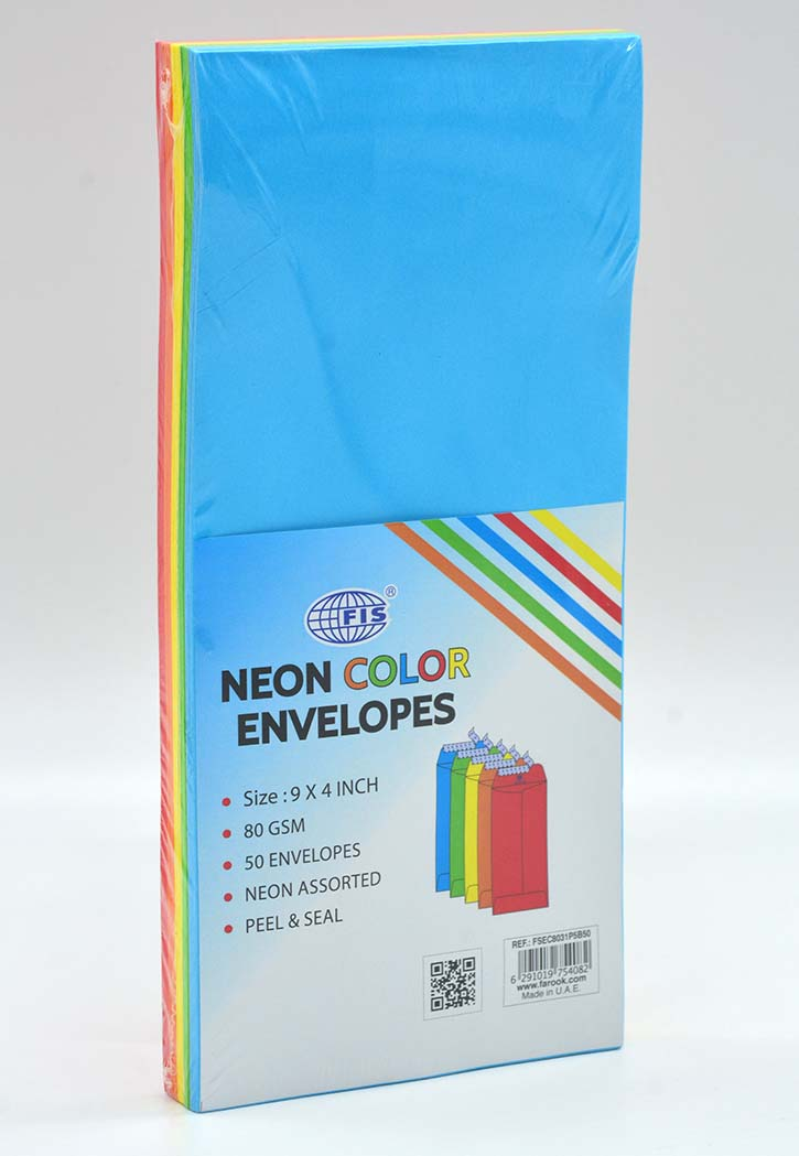FIS - Neon 5 Colors Envelope 9x4IN