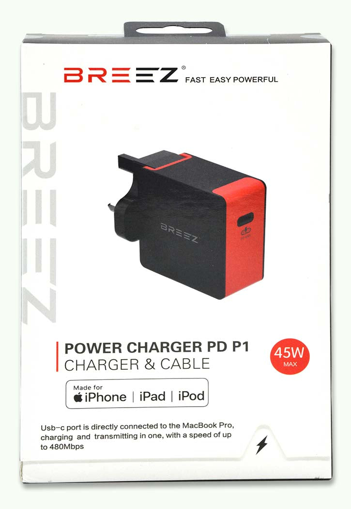 BREEZ POWER CHARGER PD P1 CHARGER & CABLE BLACK&RED
