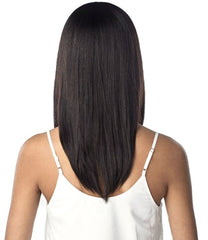 Straight, Layered, Natural Black, Lace Front Wig