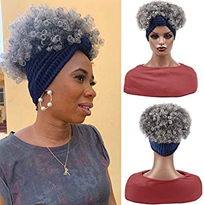 Navy Blue Synthetic Kinky Curly Turban Wrap