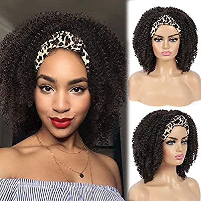 Synthetic Leopard Printed Afro Curly Headband Wig