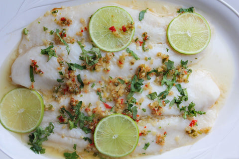 Steamed Fish with Lime Garlic Chillies for Ayurvedic Spring Diet