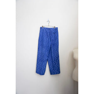 Vintage 70's royal blue check print wide leg pants