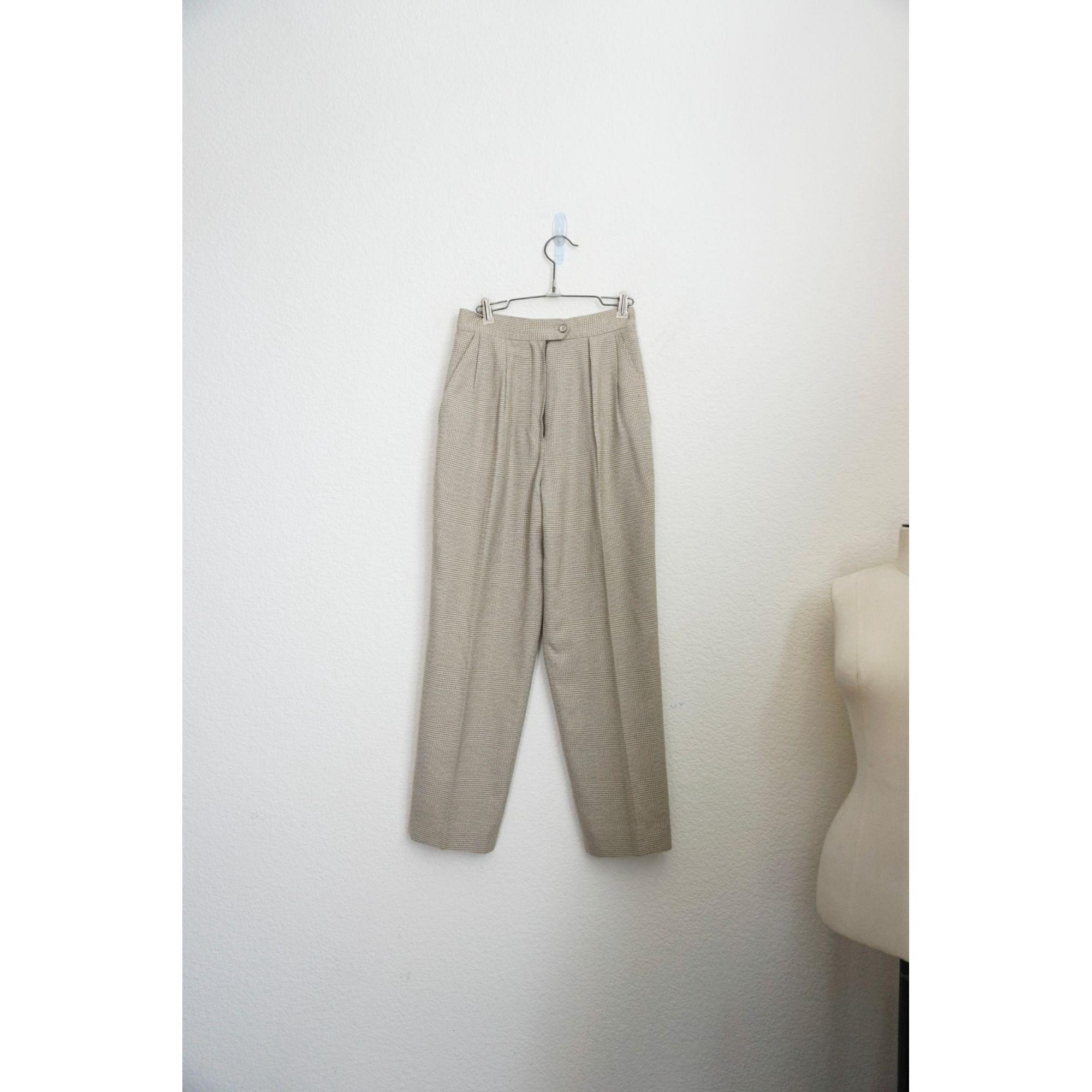 Atrium neutral plaid high rise tapered pants