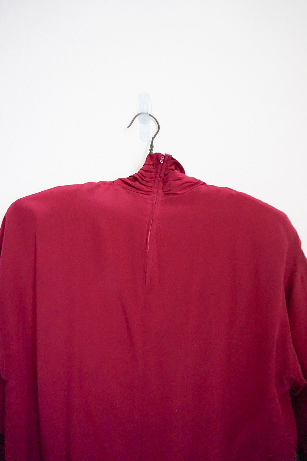 vintage 100% silk maroon turtleneck blouse size 10