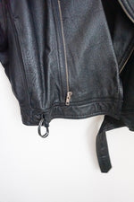 Load image into Gallery viewer, Vintage oversized cropped black leather moto jacket