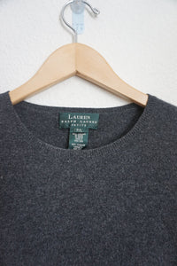 Polo Ralph Lauren grey 100% cashmere short sleeve sweater size P/L