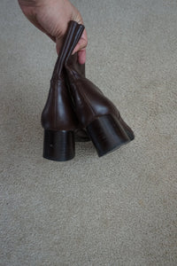 Nine West brown leather square toe ankle boots 8
