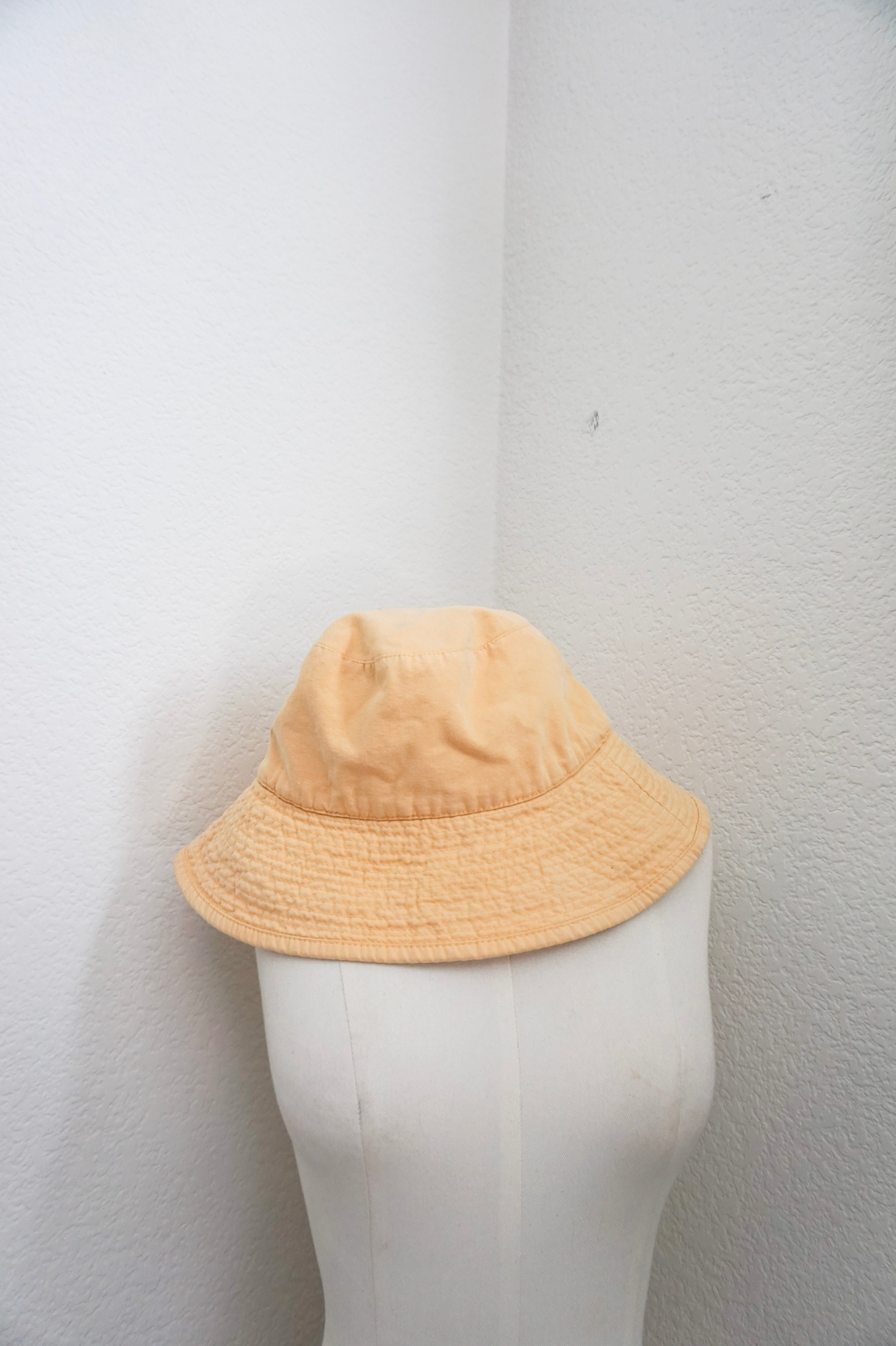 Vintage SF large butter yellow bucket hat