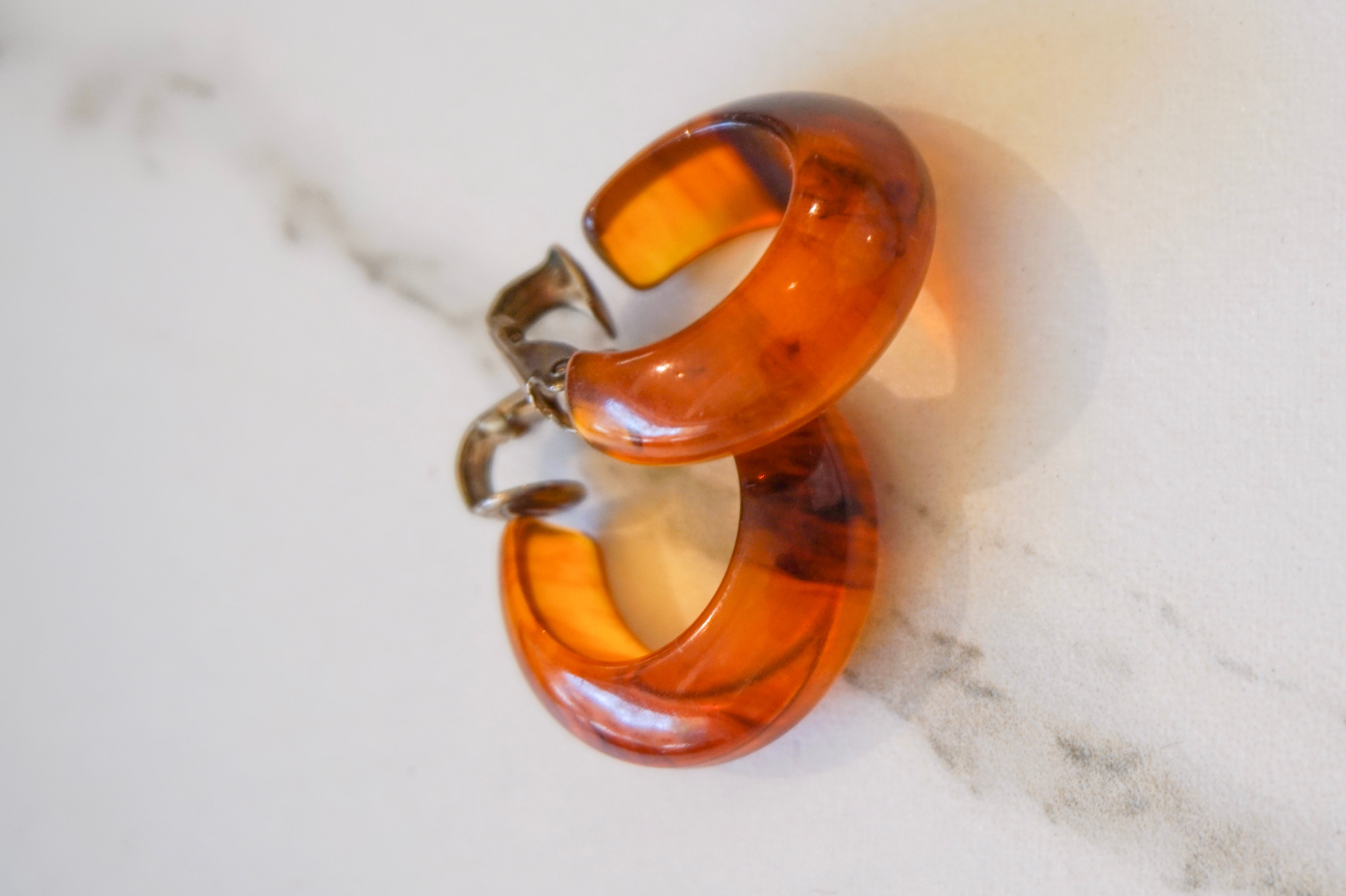 Small amber acrylic earrings