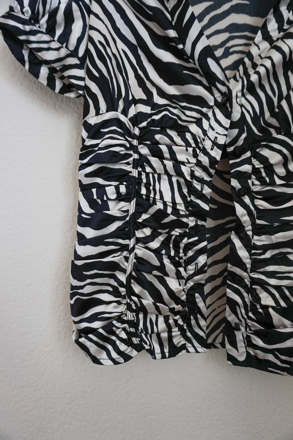 Guess zebra print puff sleeve button casual top