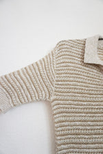 Load image into Gallery viewer, Vintage beige knit polo sweater top