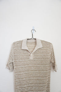 Vintage beige knit polo sweater top
