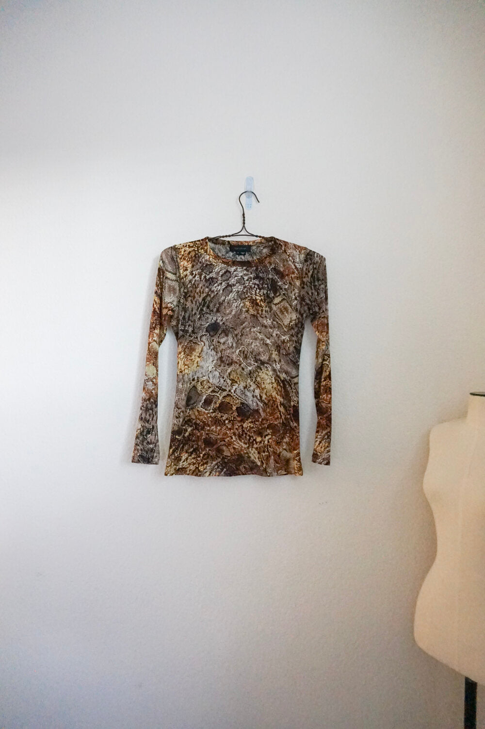 Karen Kane animal print mesh long sleeve top