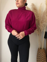 Load image into Gallery viewer, vintage 100% silk maroon turtleneck blouse size 10