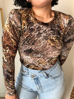 Load image into Gallery viewer, Karen Kane animal print mesh long sleeve top