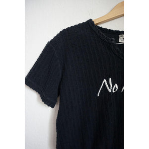 Vintage No Limits black terry cloth crop top size M
