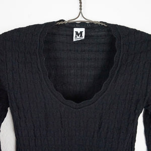 Missoni black thin knit scoopneck wool sweater L