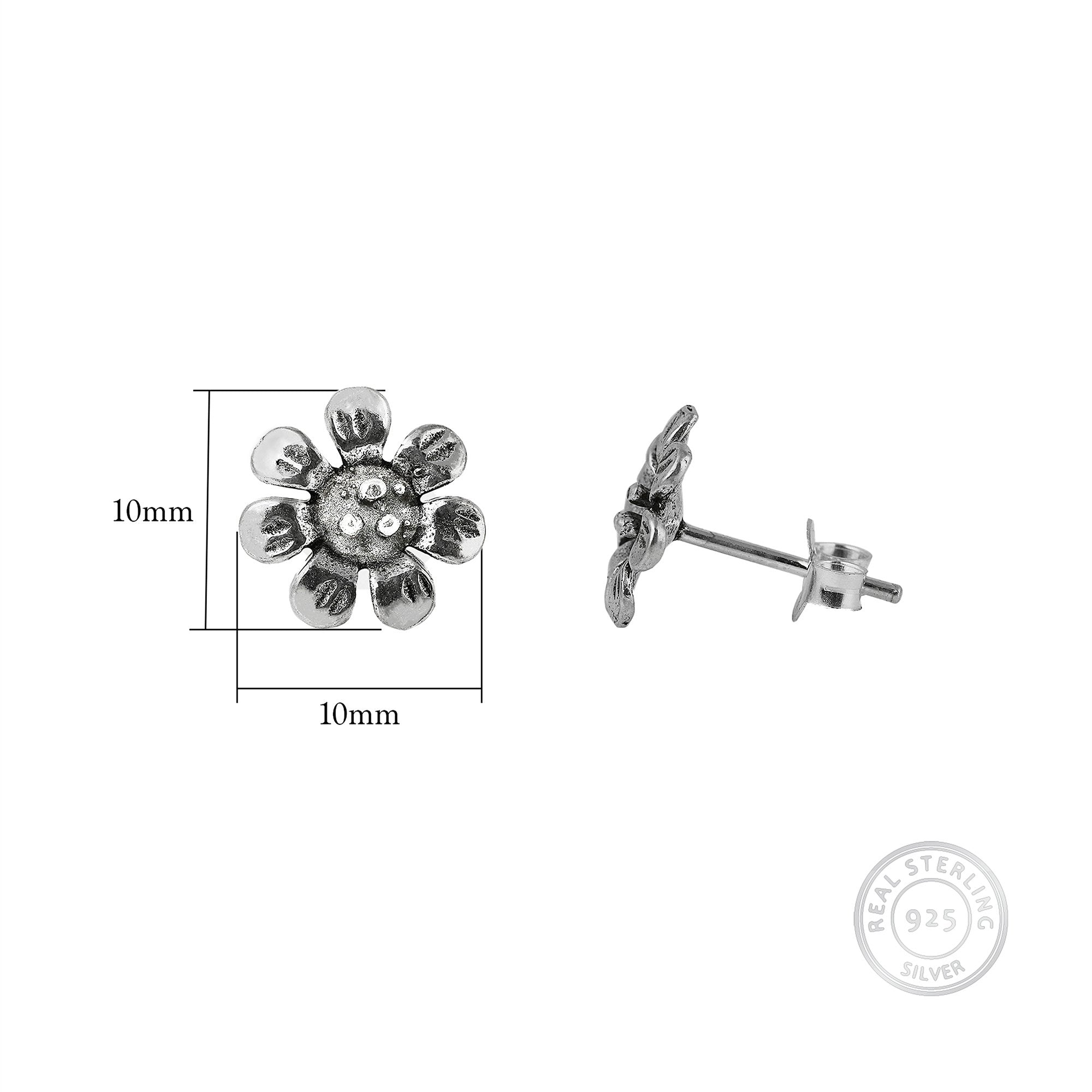 Oxidised Silver Blooming Flower Earrings