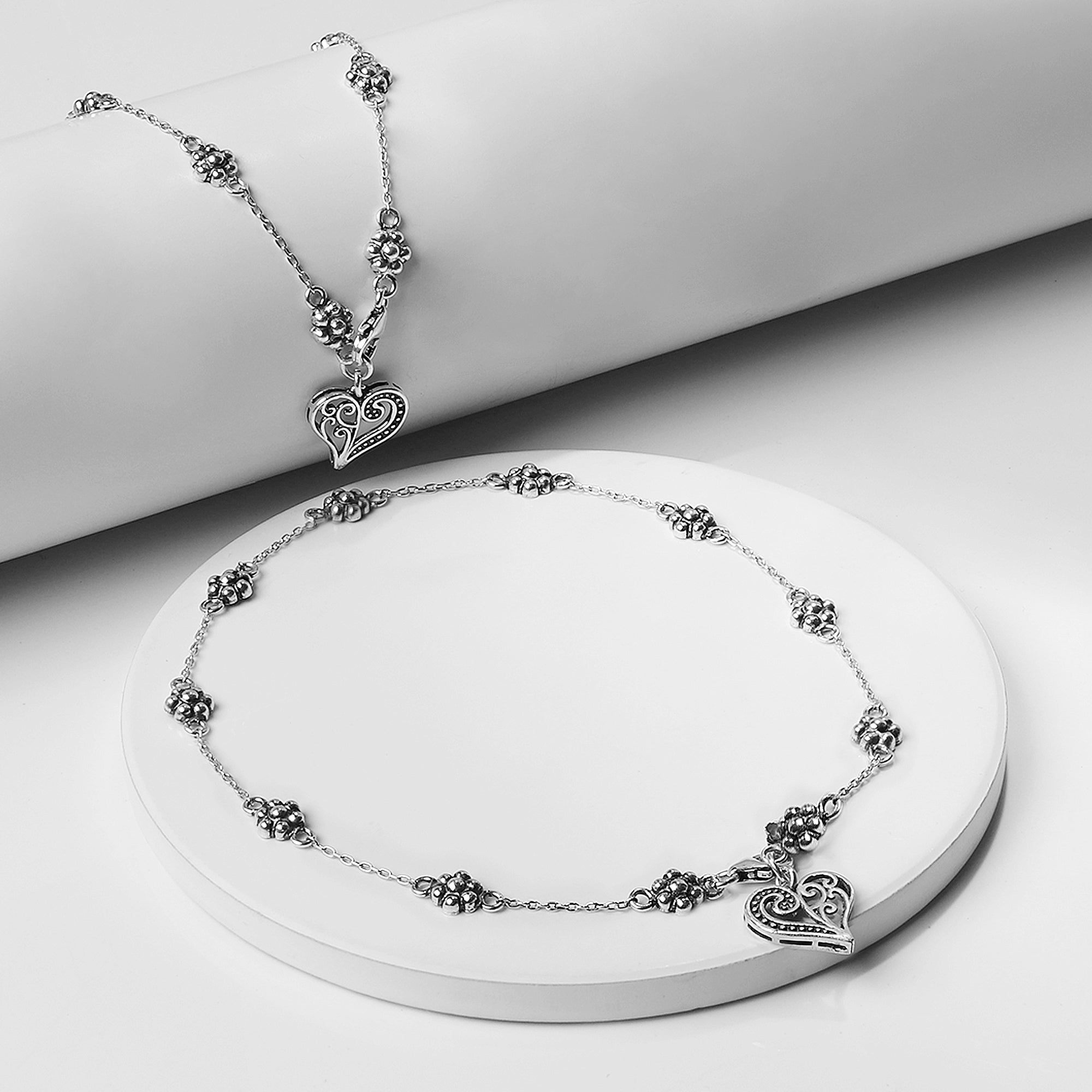 Oxidised Silver Floral Heart Anklet