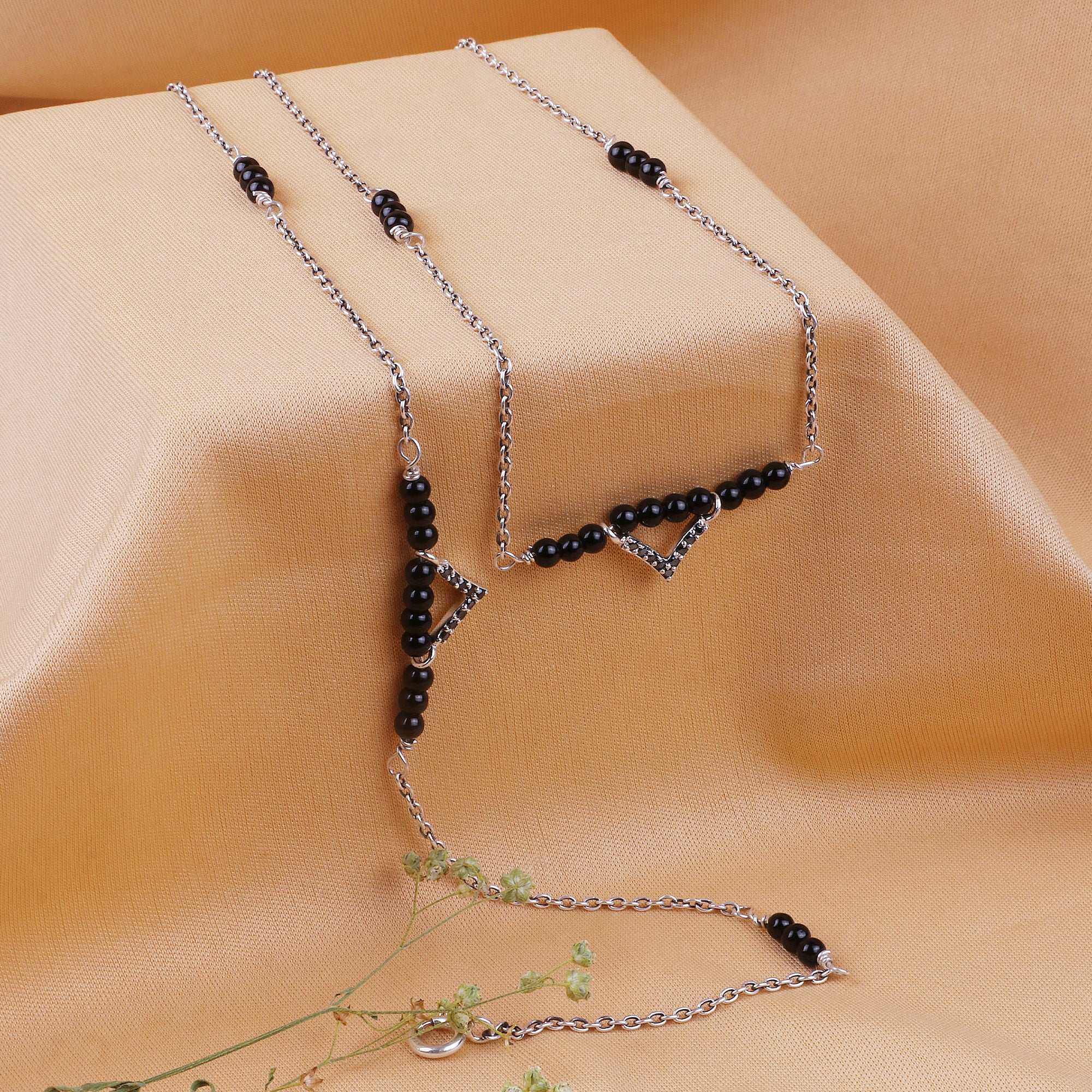 Oxidised Silver Black Studded Bead Anklet