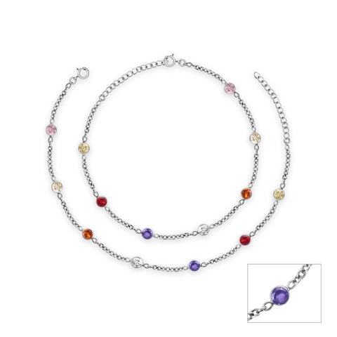 Oxidised Silver Multi Tone Gemstone Anklet