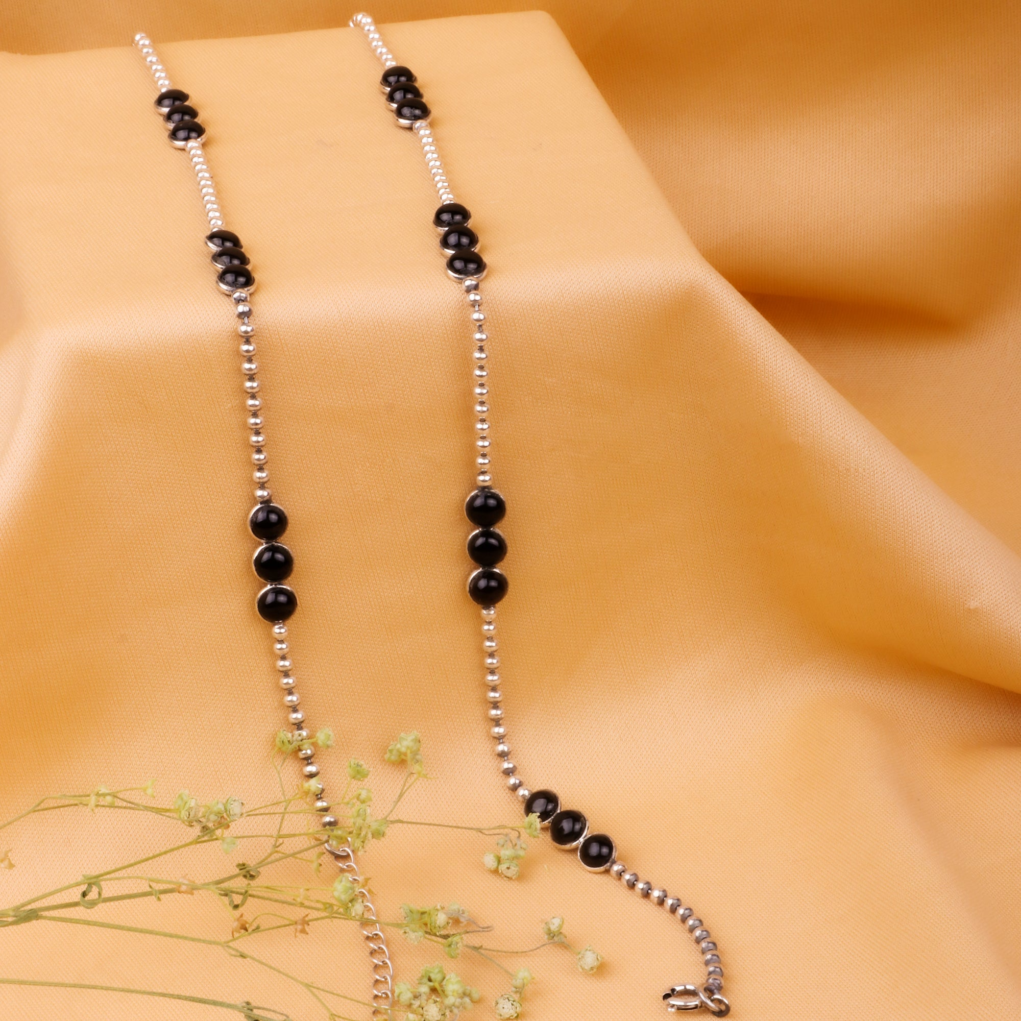Oxidised Silver Black Beads Anklet
