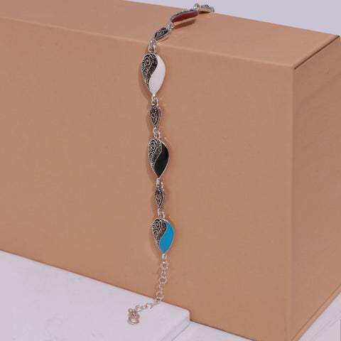 Oxidised Silver Multicolored Drop Bracelet