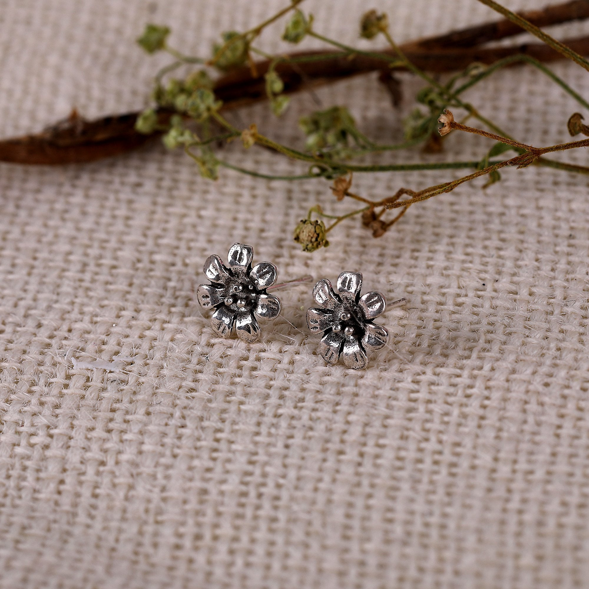 Oxidised Silver Blooming Flower Set