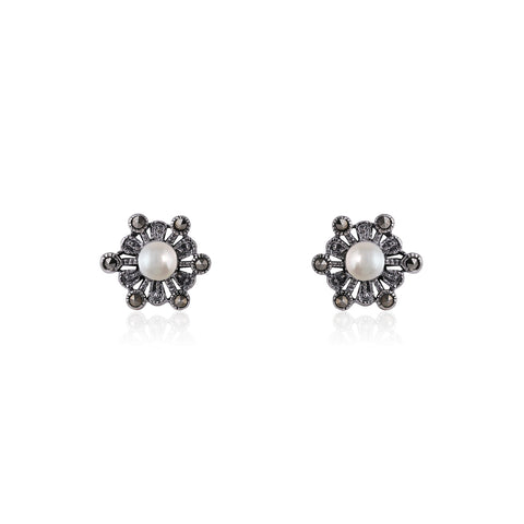 Oxidised Silver Pearl Flower Earrings