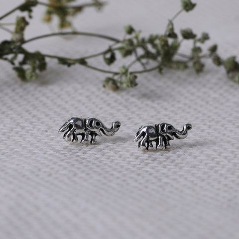 Oxidised Silver Elephant Stud Earrings