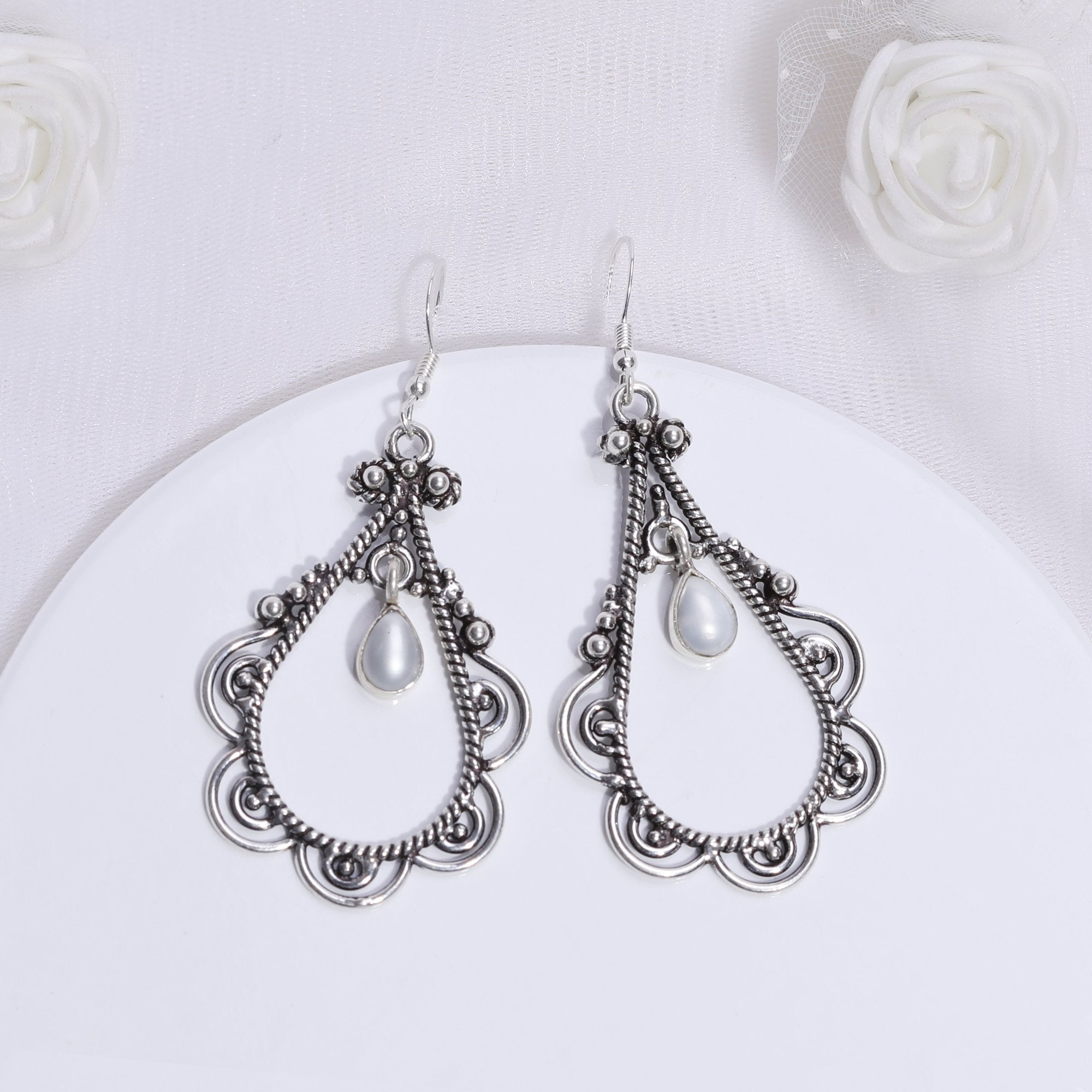 Oxidised Silver Pearl Drop Jhumki