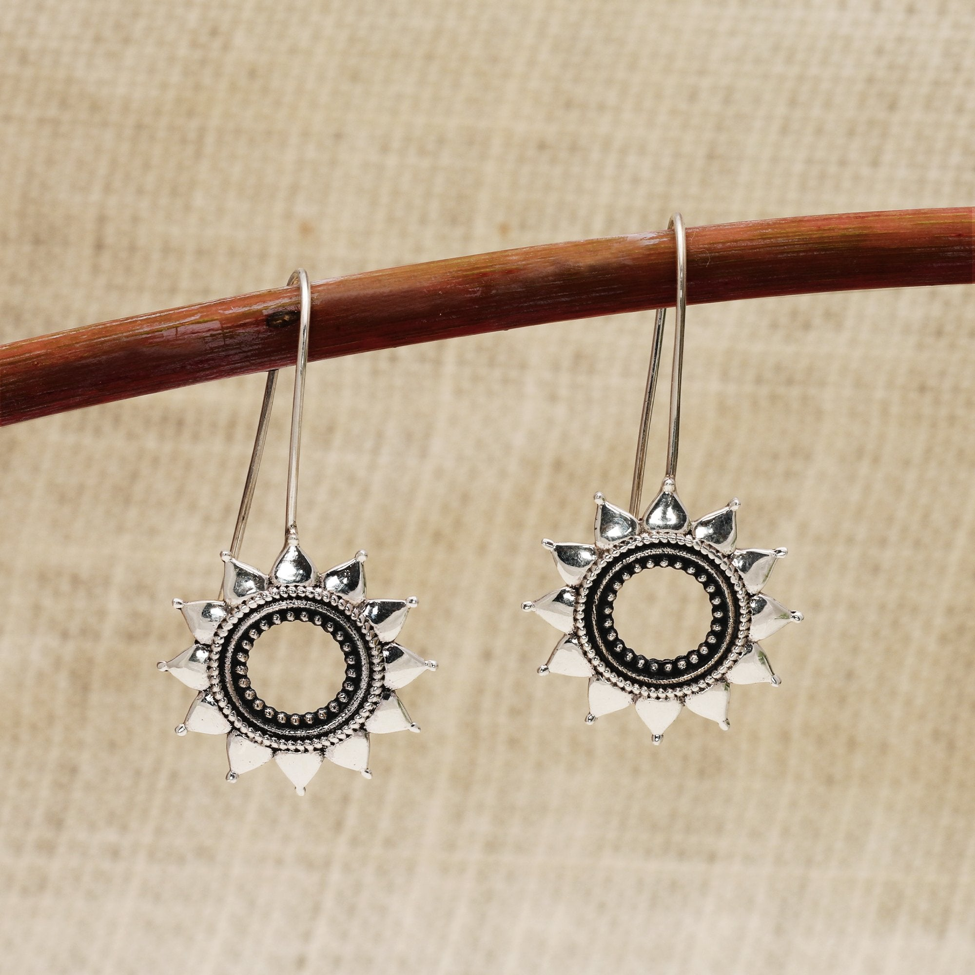 Oxidised Silver Sun Flower Earrings