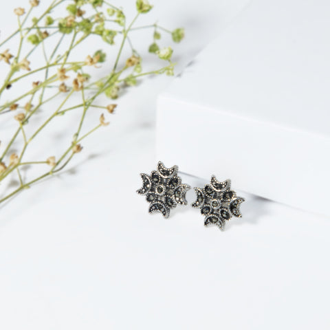 Oxidised Silver Crescent Stud Earrings