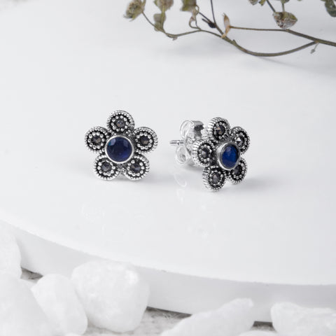 Oxidised Silver Sapphire Blue Earrings