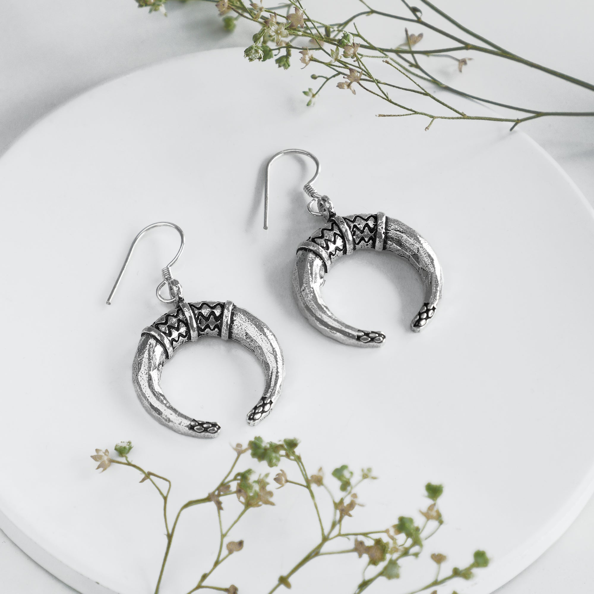 Oxidised Silver Crescent Earrings