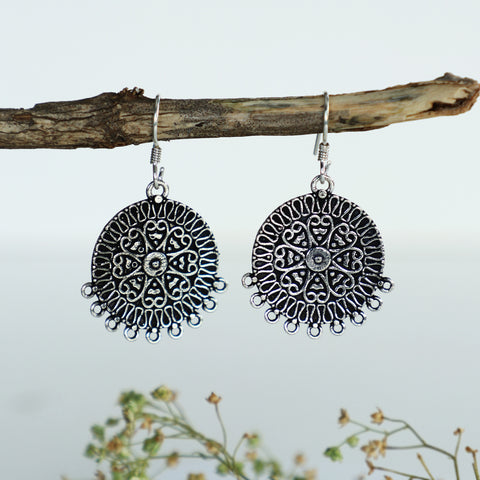 Oxidised Silver Vintage Boho Earrings