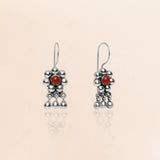 Oxidised Red Mini Flower Earrings