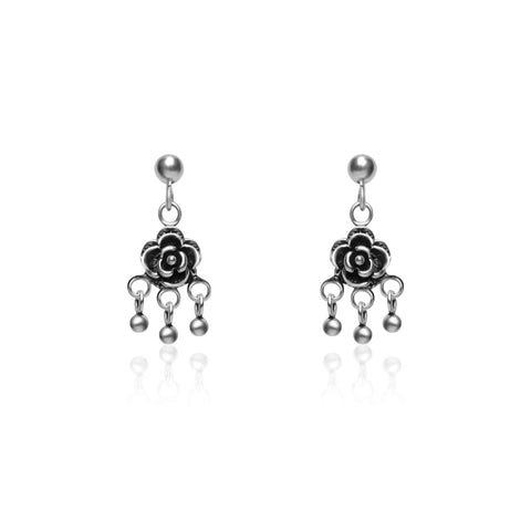 Oxidised Tiny Rose Jhumki