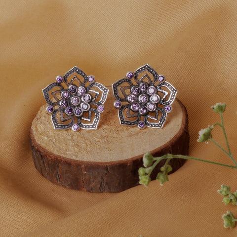 Oxidised Purple Flower Studs