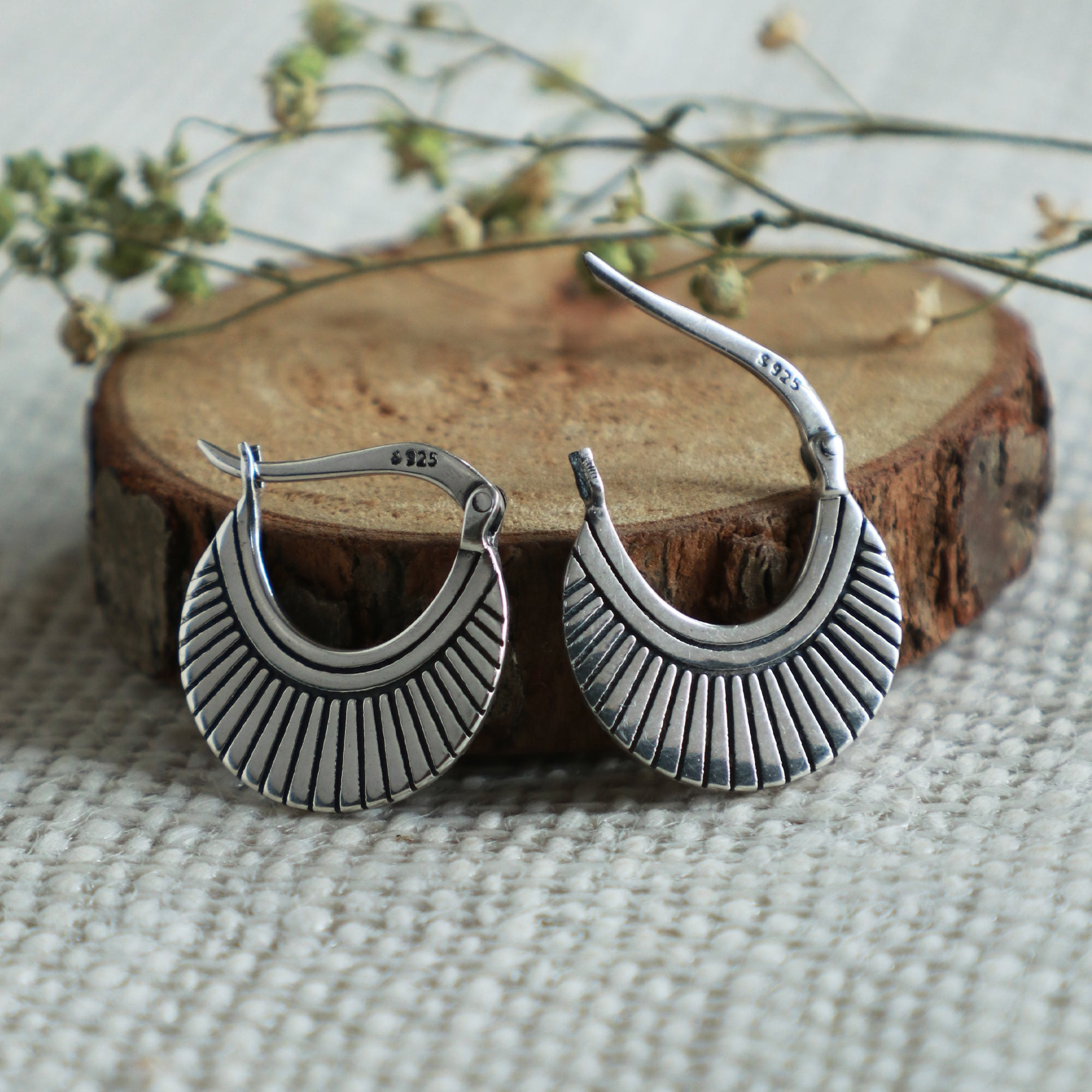 Oxidised Silver Crescent Hoops