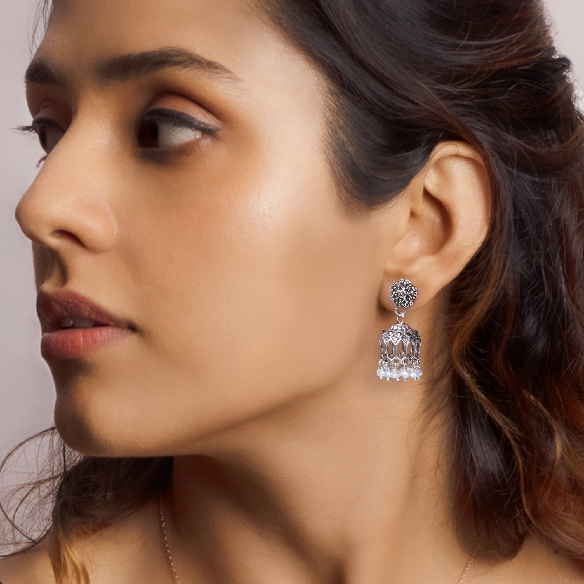 Oxidised Silver Flower Jhumki