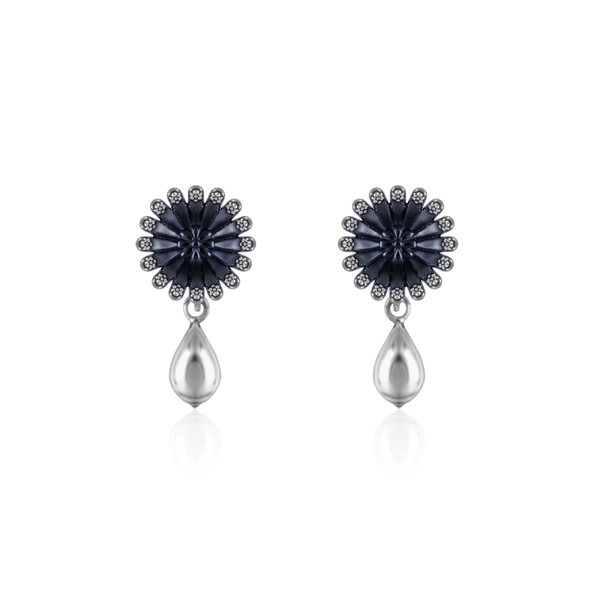 Oxidised Silver Floral Drop Studs